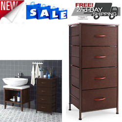 Dresser Organizer with 4 Drawers Fabric Dresser Tower for Bedroom Hallway Brown