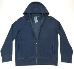 Polo Men's L Double Knit Hybrid Hoodie Zip Up Jacket Blue Nwt 228