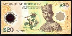 Brunei 20 Ringgit, Currency Union, 2007, A/2 073232, Pick 34, Unc.