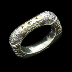 Antique Ring Square Wedding Band Eternity Yellow Gold Diamonds W Appraisal5630