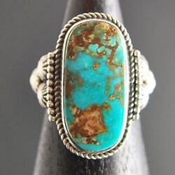 Native American Jewelry Blue Gem Turquoise Sterling Ring, S10, Navajo Rande Endito