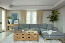 Low Profile Retro Woven Grey Contrast Stitched Sectional Living Room Furniture