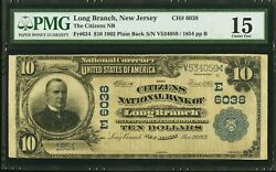 10 1902 Long Branch New Jersey Nj National Currency Bank Note Bill Ch 6038 F15