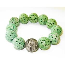 Carved Green Jade Beads Pave Diamond 925 Sterling Silver Cord Bracelet Jewelry