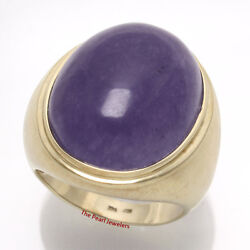 14k Solid Yellow Gold 20x 25mm Cabochon Lavender Jade Men's Ring 16 Grams Tpj