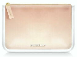 BURBERRY parfums POUCH OMBRE MAKEUP BAG envelope clutch COSMETIC CLEAR PEACH tan $24.98
