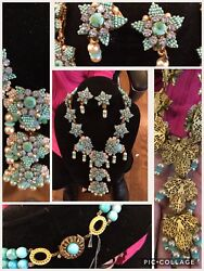 Spectaculaire Vintage Stanley Hagler Turquoise And Perle Collier And Earrings Set