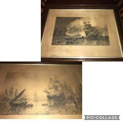 Framed 1883 Spanish Armada Two Engravings Etchings David Law Oswald Brierly