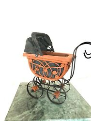 Antique Baby Doll Carriage Wicker Buggy Stroller W/ Folding Sunshade Home Décor