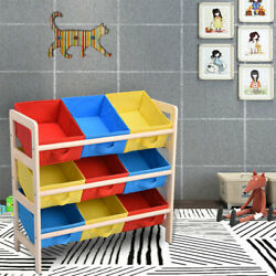 Kids Toy Storage Organize Wood Frame Shelf Toy Rack Removable Bin Box Playroom