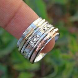 Spinner Ring 925 Sterling Silver Band And Copper Brass Handmade Ring All Size R-14