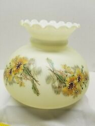 Vintage Hand Painted Glass Lamp Shade Fluted Ruffle Top Yellow Gold Sunflowers