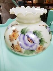 Nos Vintage Hand Painted Ruffle Top Lamp Shade Globe Hurricane Gwtw Gone Flowers
