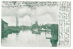 Pc Green 1908 Waterfront Scene Coca-cola Sign Postmarked Perry Ok