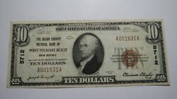 10 1929 Point Pleasant Beach New Jersey Nj National Currency Bank Note Bill Pt.