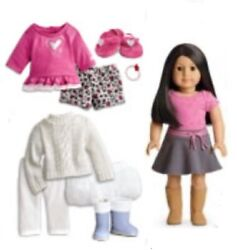NIB American Girl Doll 25 Lovely Leopard Pajamas Soft as Snow Outfit Pierced New