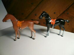 Two 2 Vintage 3 High Cast Iron Brown Black Horse Figures Figurines Exc
