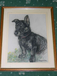 VERY LARGE ANTIQUE SCOTTISH TERRIER DOG PASTEL PAINTING BY K.F. BARKER 1939