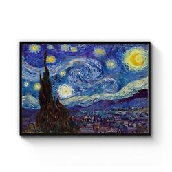 Starry Night By Vincent Van Gogh Classic Painting Art Poster Print - Framed