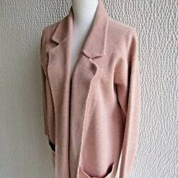 J Crew Pink Sweater Coat XS Long Premium Cotton Wool Blend Duster Free Fall