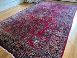 Red Antique Sarouk Hand Woven Wool Carpet 15and039 X 9and0393