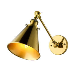 Industrial Retro Brass Wall Light Fixture Adjustable Wall Sconce With Cone Shade