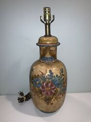 Vintage Italy Hand Painted Handmade Table Lamp Ringed Pottery Numbered Rare