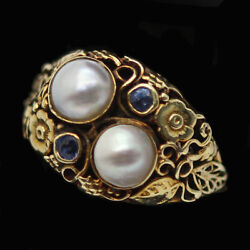 Antique Arts And Crafts Ring 14k Gold Pearls Topaz American Art Deco 6137