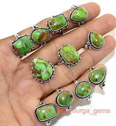 New 100 Pcs Lot Natural Green Copper Turquoise Gemstone 925 Silver Plated Rings