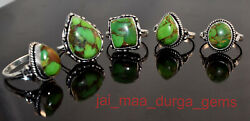 New 50 Pcs Lot Natural Green Copper Turquoise Gemstone 925 Silver Plated Rings