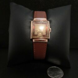Vtg Menand039s Square 14k Rolled Gold Bulova Wind Wristwatch 15 Jewels Fifth Ave Ny