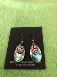 Vintage Hand Made Sterling Silver Earrings Abalone