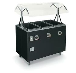 Vollrath T38709 3 Well Hot Food Steam Table Mobile Black W/ Storage