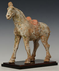 Tang Dynasty Antique Chinese Painted Pottery Walking Horse