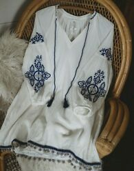 The Johnny Tunic Boho Bohemian Embroidered Top L Large Blouse Peasant Was $109
