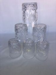 """Vintage Cut Etched Leaded Crystal Whisky Glasses Set Of 6, 4"""" Tall By 3"""" Across"""