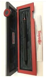 Rotring 600 Ballpoint Pen Trio Matte Black Blue Red And Pencil New In Box 502640