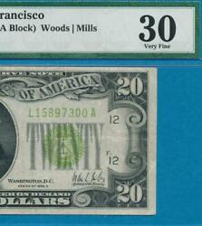 20. 1928-c Rare San Francisco Lime Green Federal Reserve Note Pmg Vf30