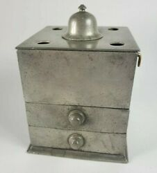 Rare Antique 1700and039s Early Colonial American Williamsburg Pewter Inkwell Wf Mark