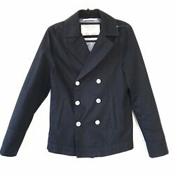 Zara Man Denim Couture Sz S Military Naval Double Breasted Classic Peacoat Jkt