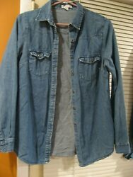 Women's Cotton On Denim Cowgirl Shirt S Button Down Blouse 2 Chest Pockets Top