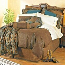 Luxury Designer Del Rio Tooled Faux Leather Comforter Set King Blue Brown 5pc