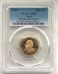 Niger 1960 Diori Hamani 25 Fr Pcgs Sp68 Gold Plated Pattern Coinvery Rare