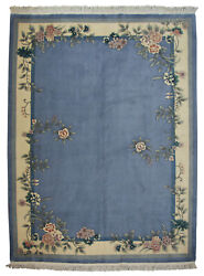 Rra 9x12 Chinese Floral Open Field Design Sky Blue Rug 28667