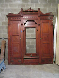 Antique Carved Oak Closet Front Built In Armoire 85 X 105 Salvage