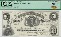 T-8 Pf-4 1861 50 Confederate Paper Money - Pcgs Choice About New 55 - Choice