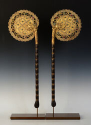 19th Century, A Pair Of Antique Burmese Wooden Fans With Gilded Gold And Glass