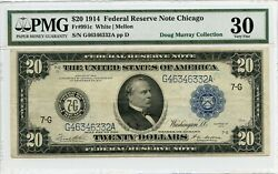 Fr991c 20 1914 Frn Chicago Pmg 30 Very Fine Only 45 Recorded 586 Dfp 4/6