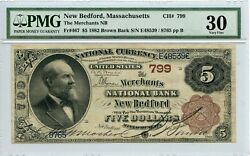 Fr467 799 5 1882 Value Back New Bedford Ma Pmg 30 Very Fine 607 Dfp 4/6