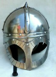 Medieval Warrior Viking Helmet with Leather Liner Nasal Larp SCA Battle Helmet